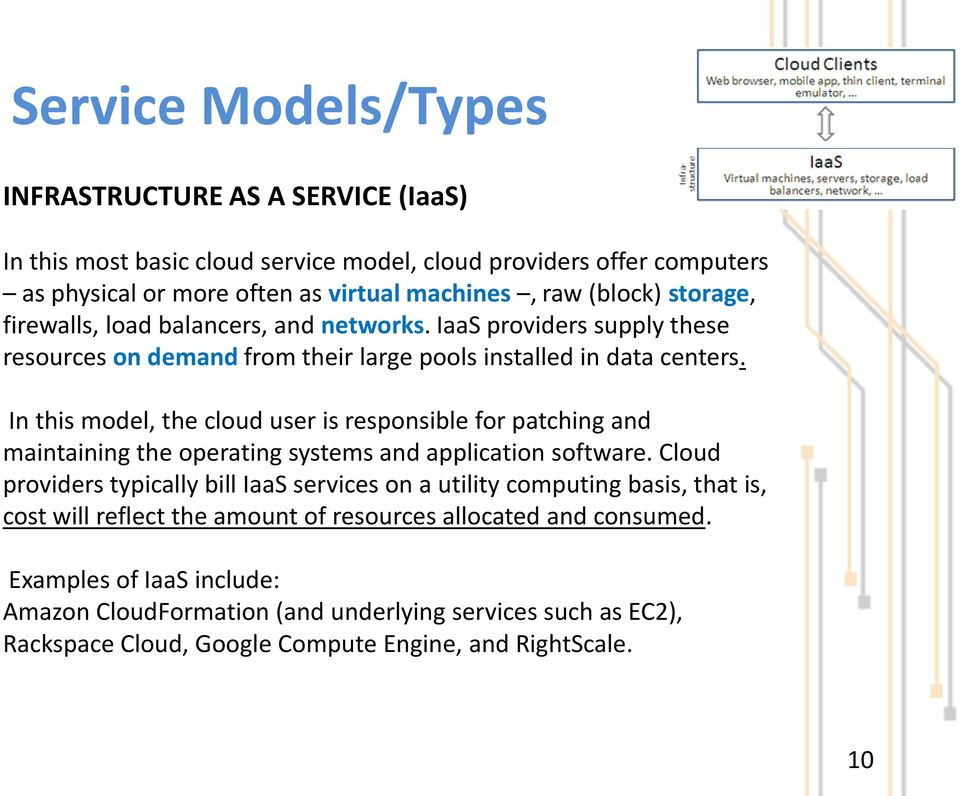 In this model, the cloud user is responsible for patching and maintaining the operating systems and application software.