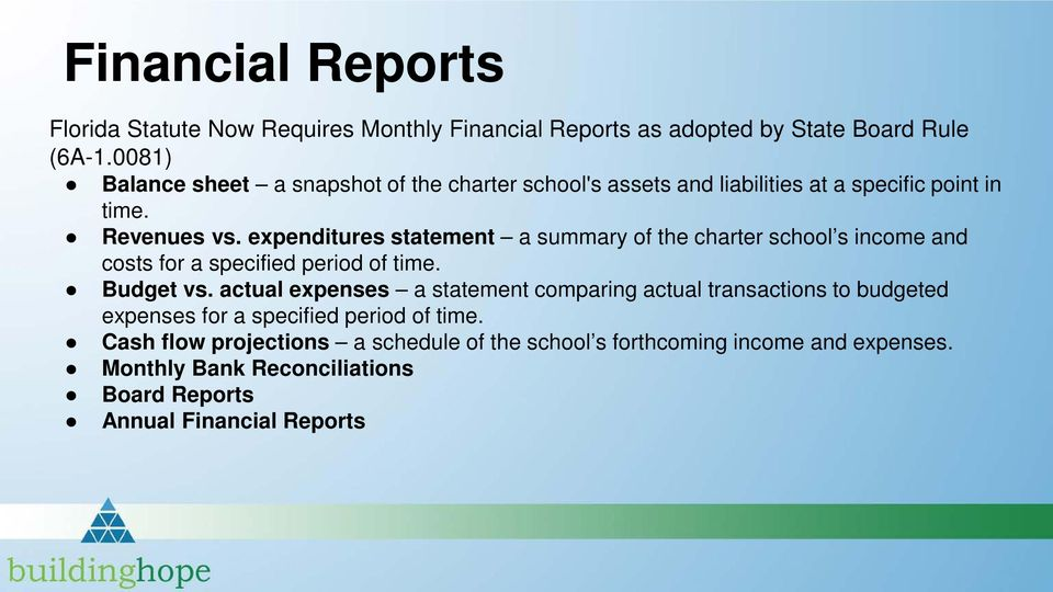 expenditures statement a summary of the charter school s income and costs for a specified period of time. Budget vs.