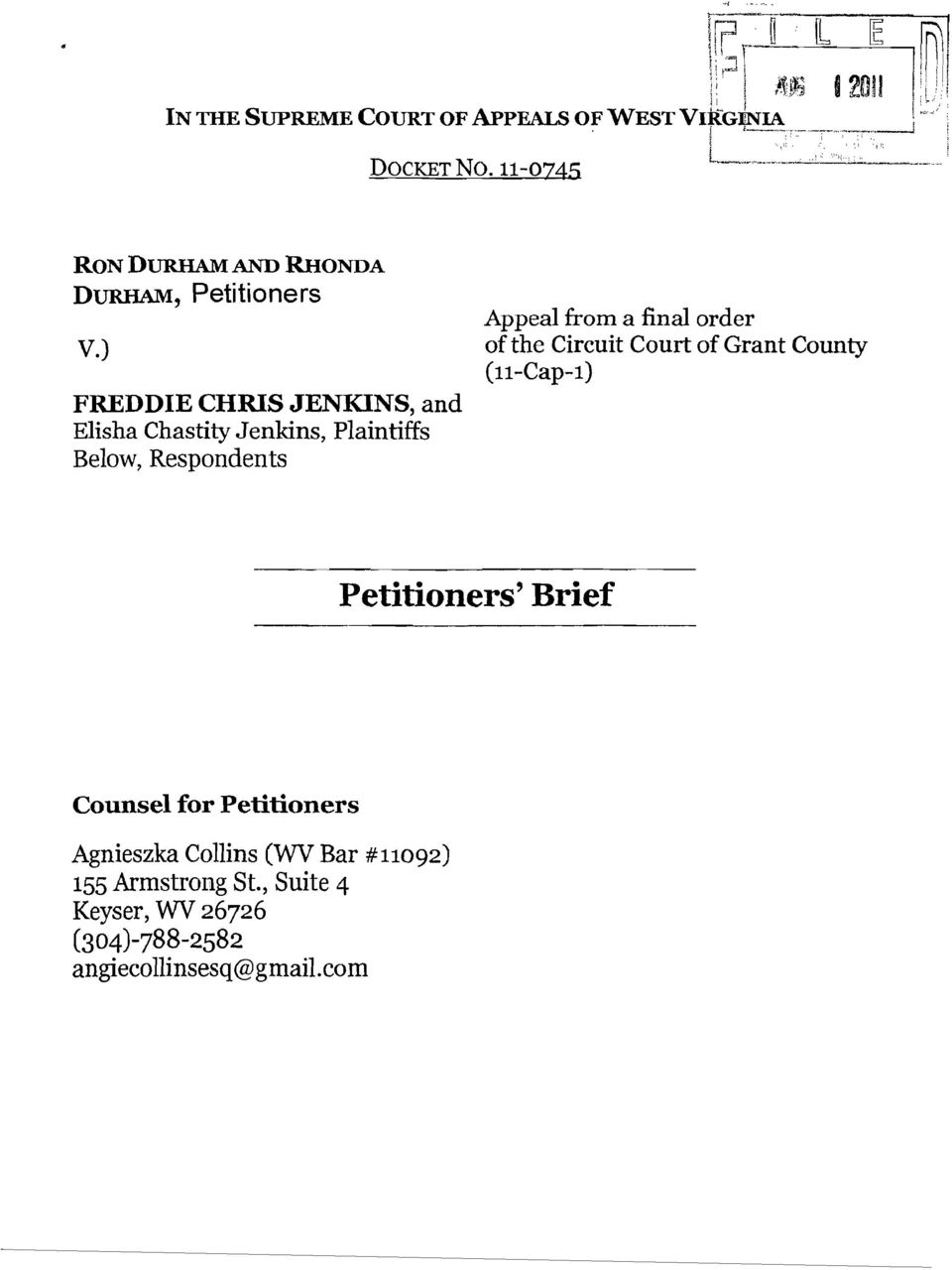 a final order of the Circuit Court of Grant County (l1-cap-l) Petitioners' Brief Counsel for