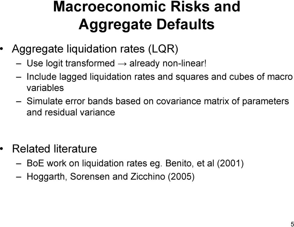 Include lagged liquidation rates and squares and cubes of macro variables Simulate error bands