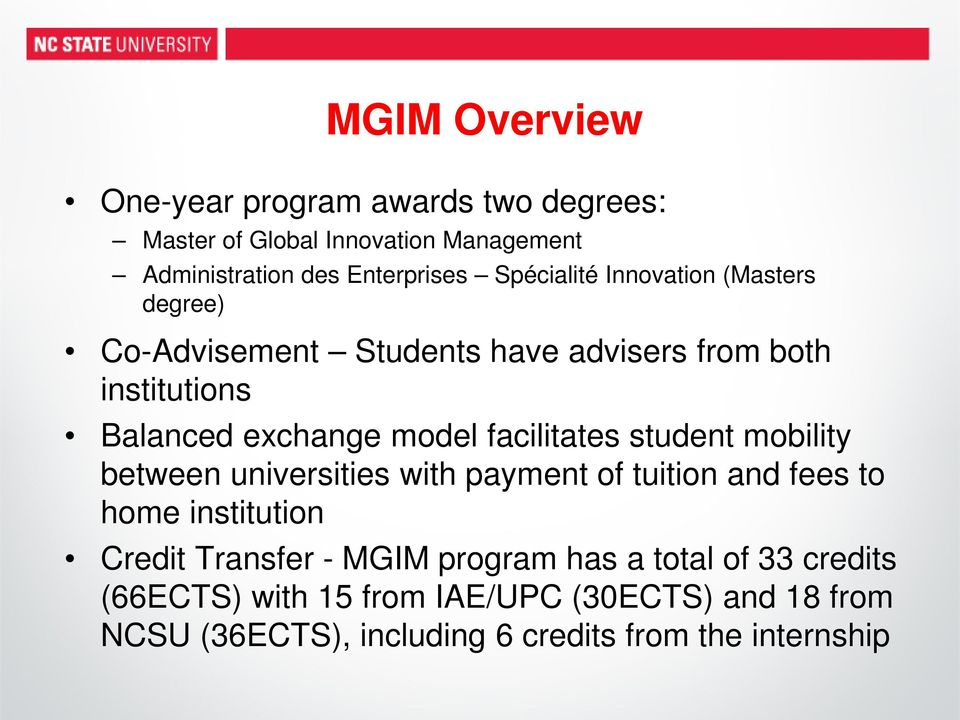 facilitates student mbility between universities with payment f tuitin and fees t hme institutin Credit Transfer - MGIM