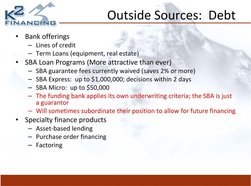 Micro: up to $50,000 The funding bank applies its own underwriting criteria; the SBA is just a guarantor Will sometimes