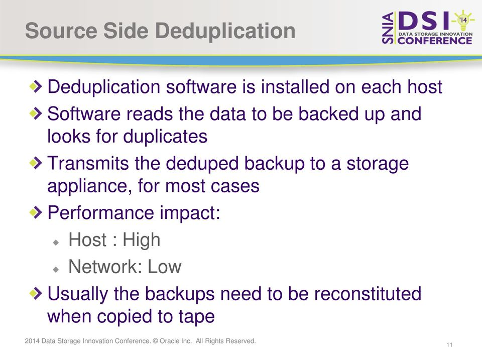 deduped backup to a storage appliance, for most cases Performance impact: Host
