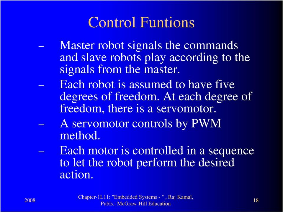 At each degree of freedom, there is a servomotor. A servomotor controls by PWM method.