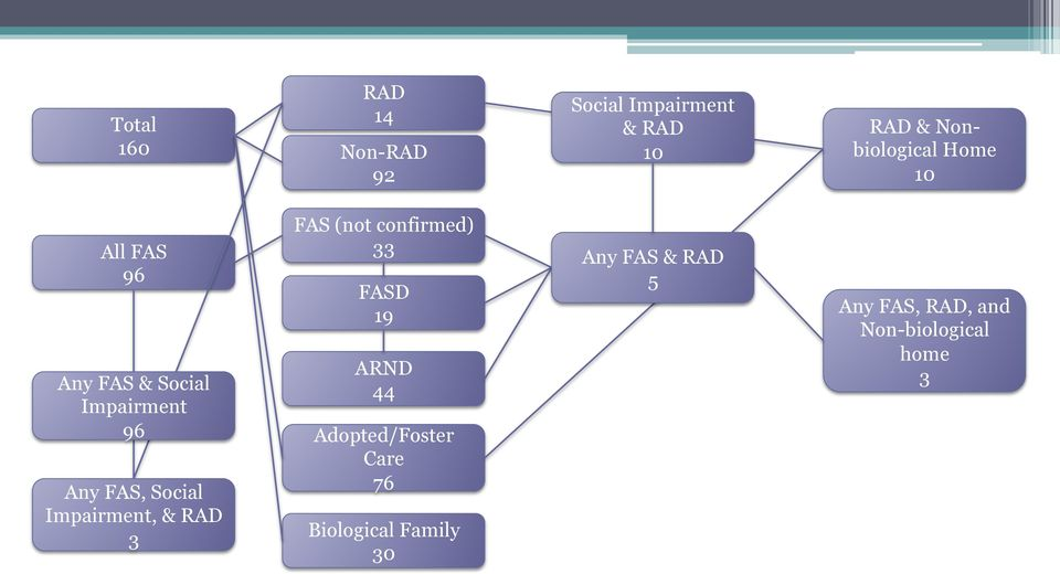 Impairment, & RAD 3 FAS (not confirmed) 33 FASD 19 ARND 44 Adopted/Foster