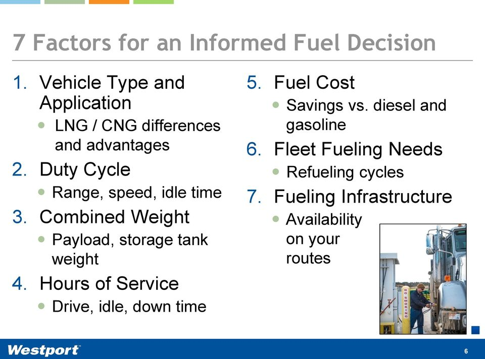 Duty Cycle Range, speed, idle time 3. Combined Weight Payload, storage tank weight 4.
