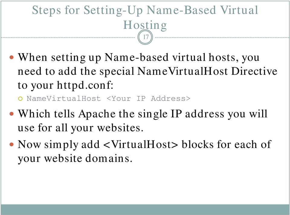 conf: NameVirtualHost <Your IP Address> Which tells Apache the single IP address you