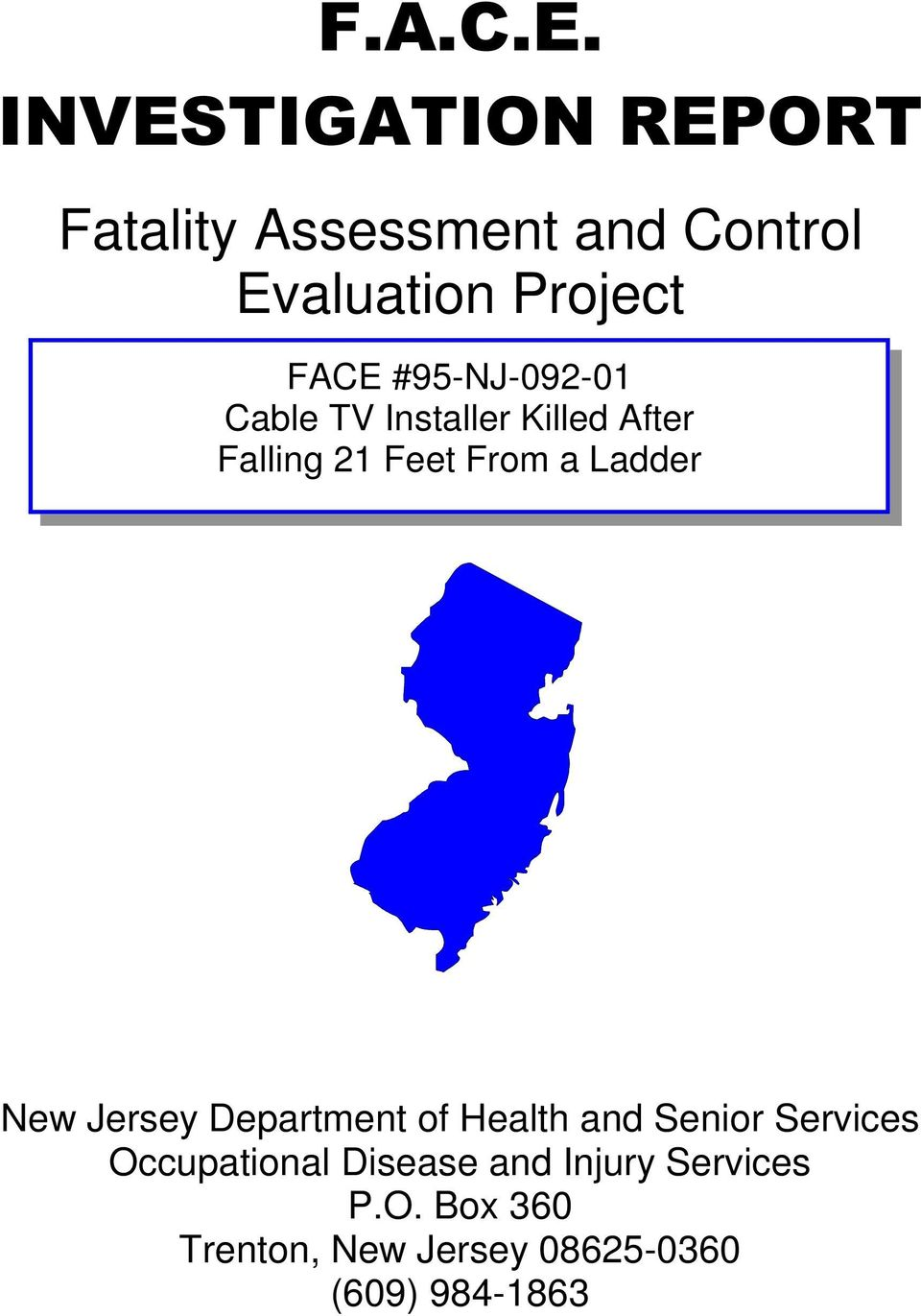 Ladder New Jersey Department of Health and Senior Services Occupational
