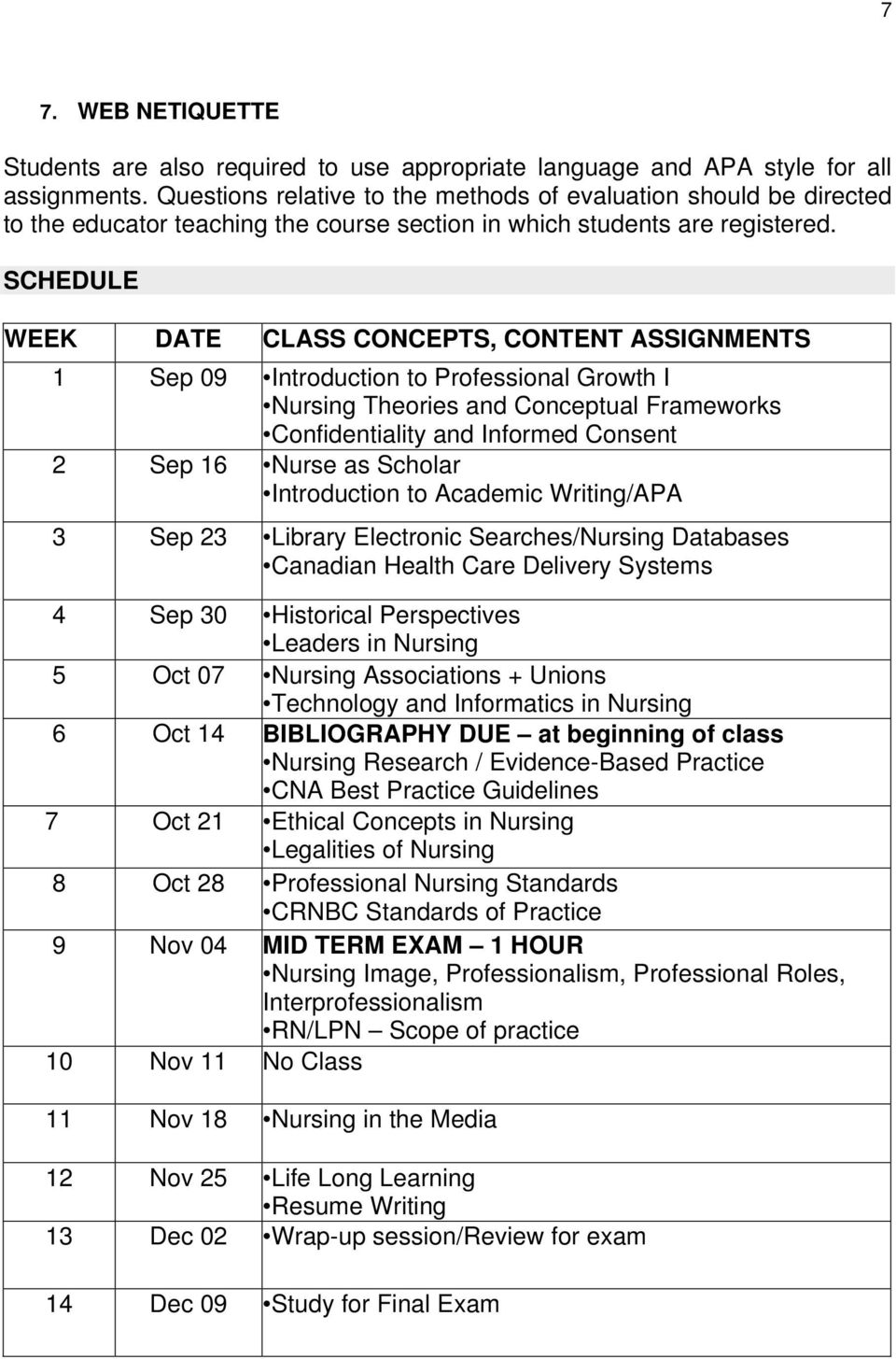 SCHEDULE WEEK DATE CLASS CONCEPTS, CONTENT ASSIGNMENTS 1 Sep 09 Introduction to Professional Growth I Nursing Theories and Conceptual Frameworks Confidentiality and Informed Consent 2 Sep 16 Nurse as