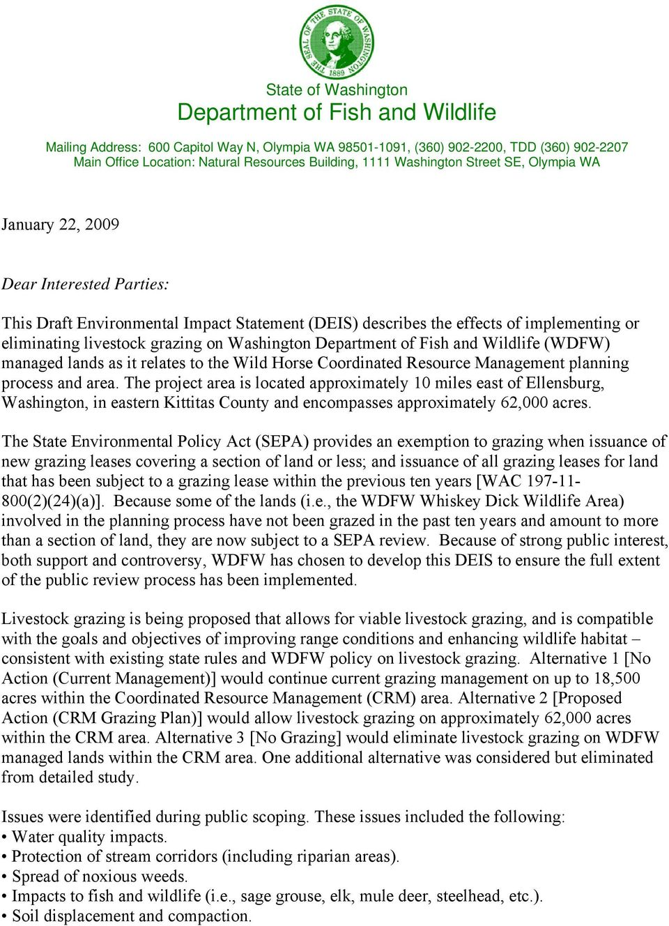 on Washington Department of Fish and Wildlife (WDFW) managed lands as it relates to the Wild Horse Coordinated Resource Management planning process and area.