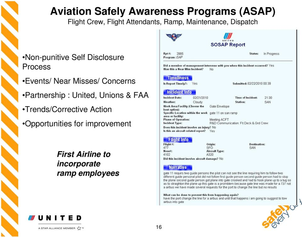 Near Misses/ Concerns Partnership : United, Unions & FAA Trends/Corrective