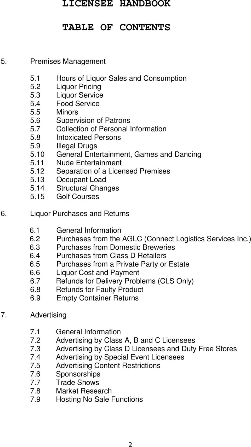 Liquor licensee handbook pdf for Table 6 2 occupant load