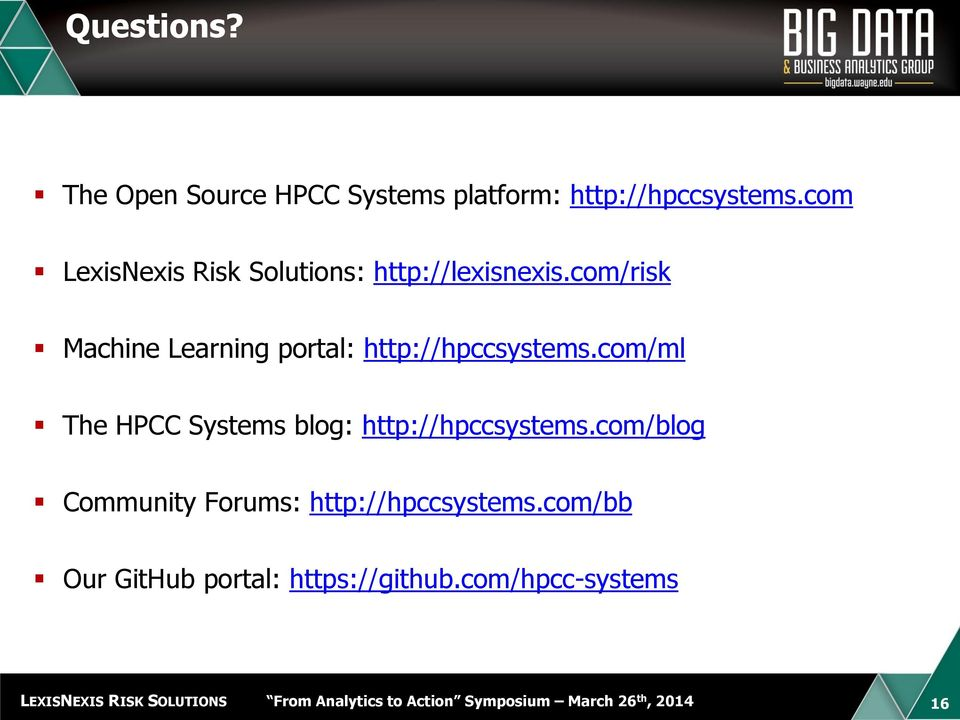 com/risk Machine Learning portal: http://hpccsystems.