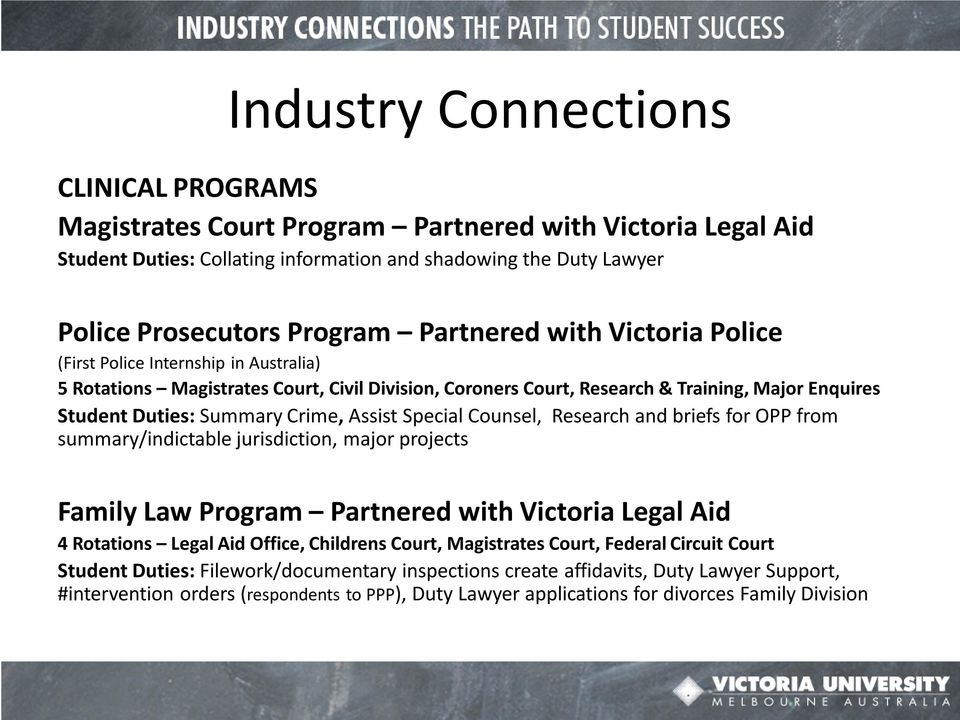 Assist Special Counsel, Research and briefs for OPP from summary/indictable jurisdiction, major projects Family Law Program Partnered with Victoria Legal Aid 4 Rotations Legal Aid Office, Childrens