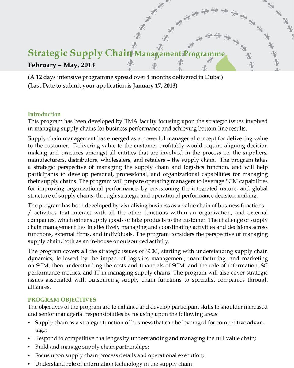 strategic supply chain management Supply chains and their efficient management may mean the supply chain management: ingrid's job of managing the supply chain is important for strategic.