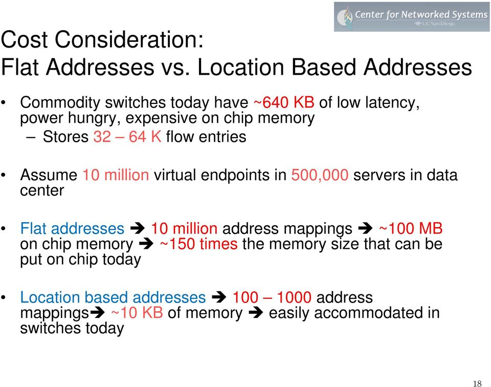 Stores 32 64 K flow entries Assume 10 million virtual endpoints in 500,000 servers in data center Flat addresses 10