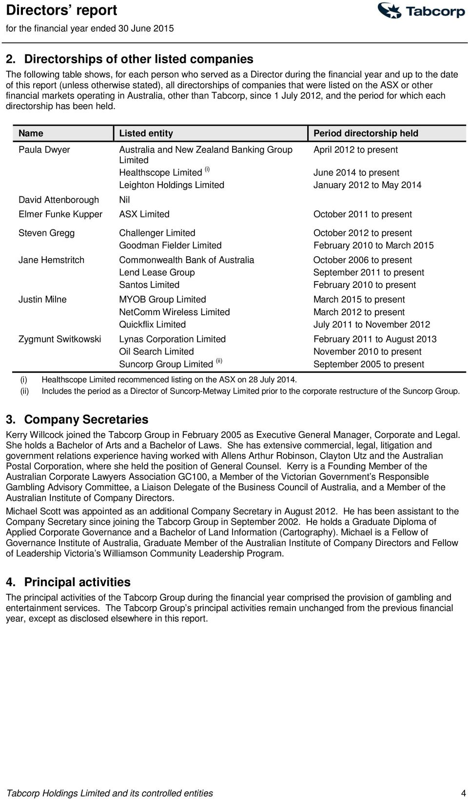 directorships of companies that were listed on the ASX or other financial markets operating in Australia, other than Tabcorp, since 1 July 2012, and the period for which each directorship has been
