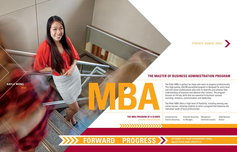 BUSINESS ADMINISTRATION PROGRAM Kayla Wong MBA The Rider MBA is perfect for those who want to progress professionally.