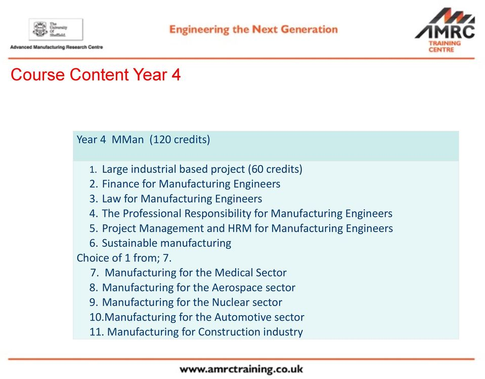 Project Management and HRM for Manufacturing Engineers 6. Sustainable manufacturing Choice of 1 from; 7.