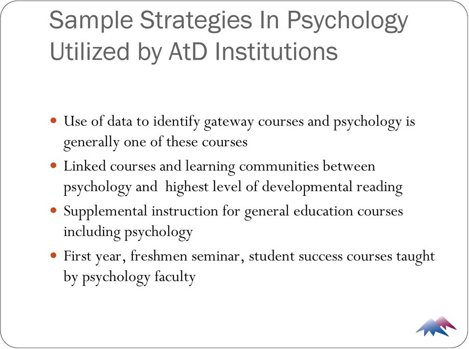 psychology and highest level of developmental reading Supplemental instruction for general education
