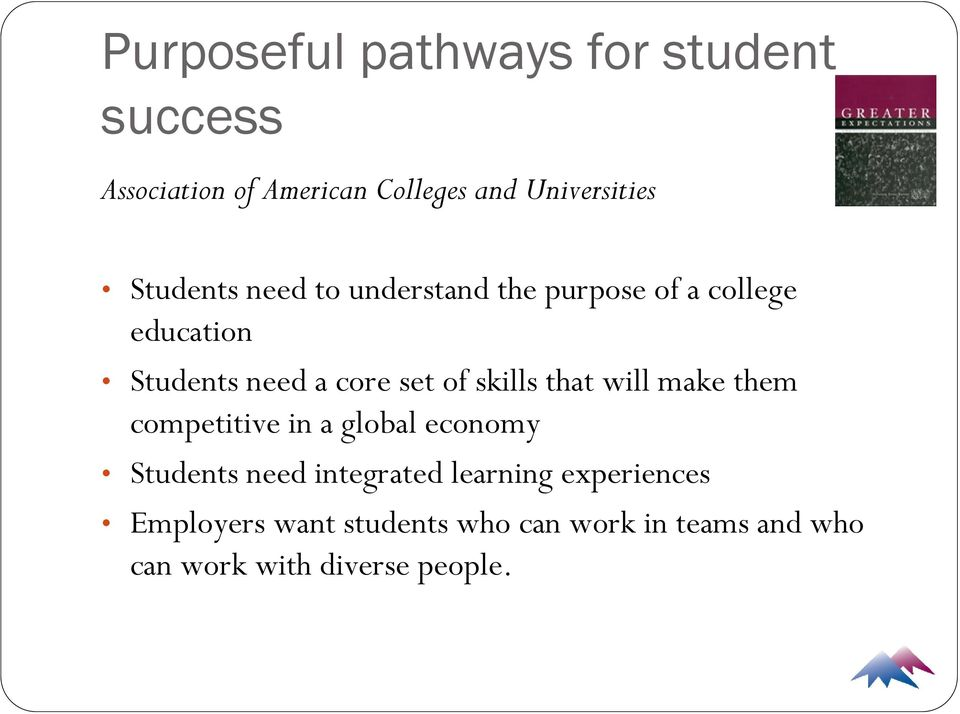 skills that will make them competitive in a global economy Students need integrated learning
