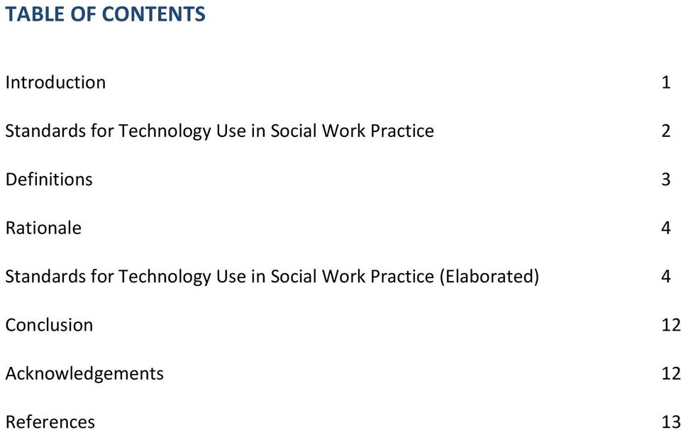 Standards for Technology Use in Social Work Practice