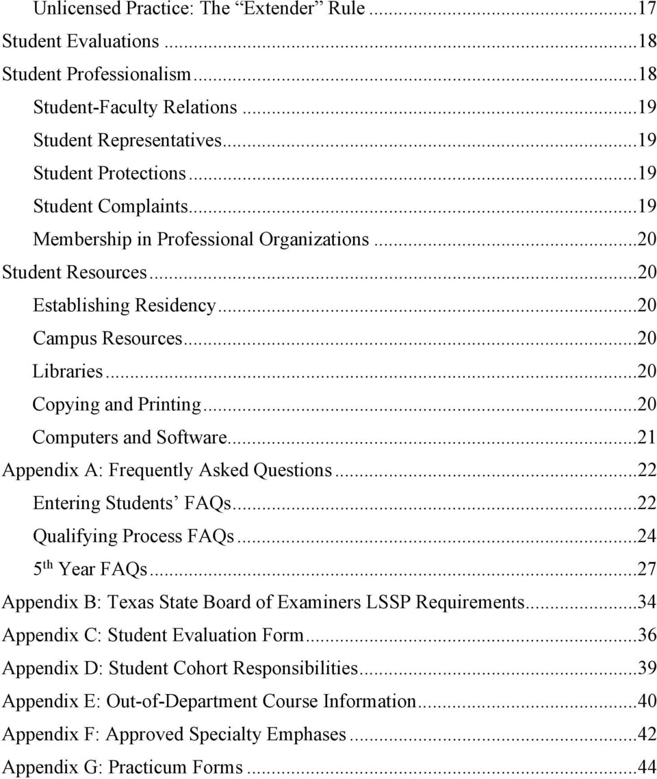 .. 20 Computers and Software... 21 Appendix A: Frequently Asked Questions... 22 Entering Students FAQs... 22 Qualifying Process FAQs... 24 5 th Year FAQs.
