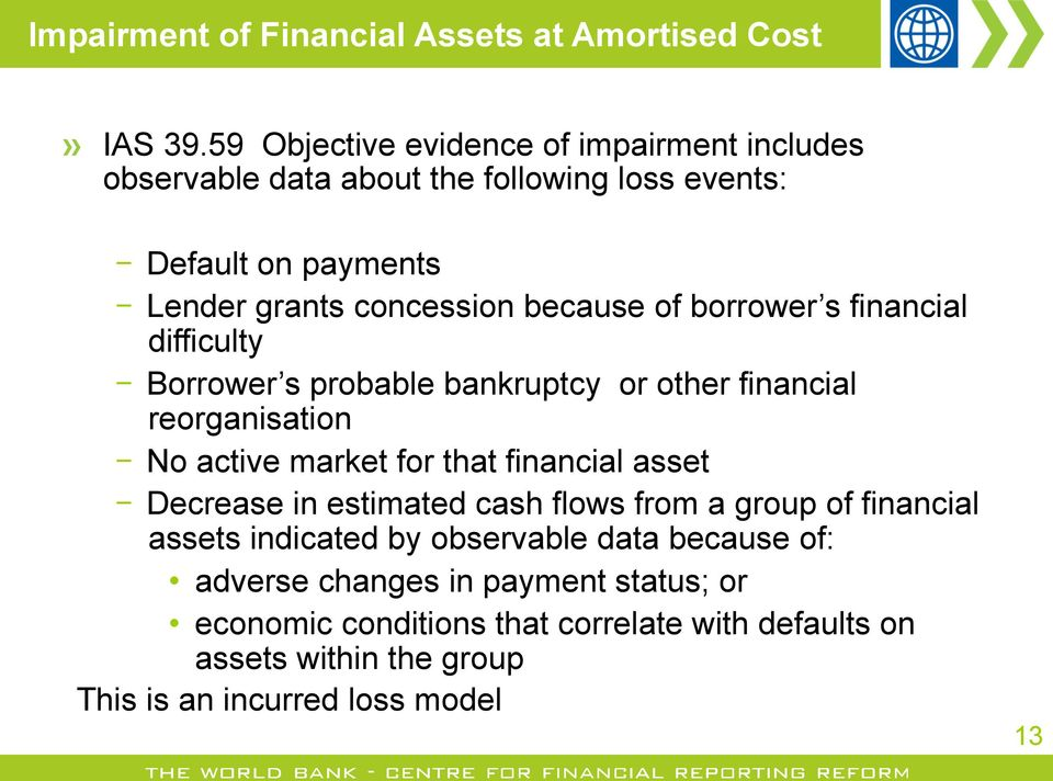 borrower s financial difficulty Borrower s probable bankruptcy or other financial reorganisation No active market for that financial asset Decrease