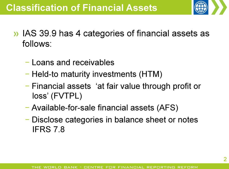 Held-to maturity investments (HTM) Financial assets at fair value through