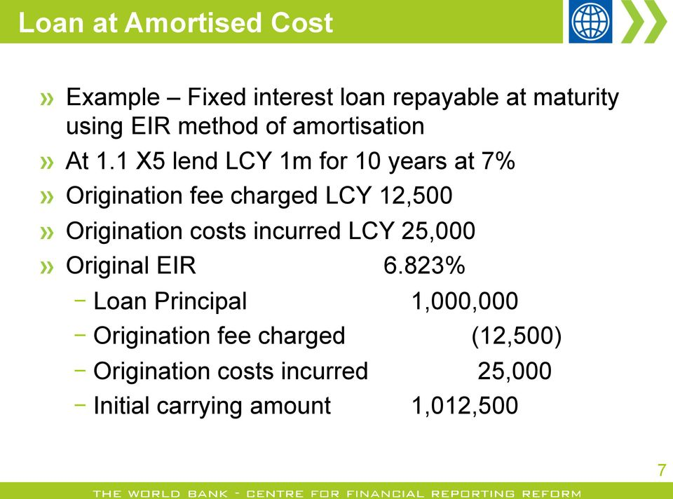 1 X5 lend LCY 1m for 10 years at 7%! Origination fee charged LCY 12,500!
