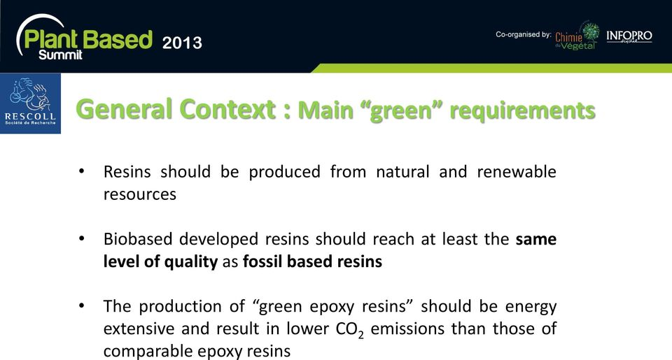 of quality as fossil based resins The production of green epoxy resins should be