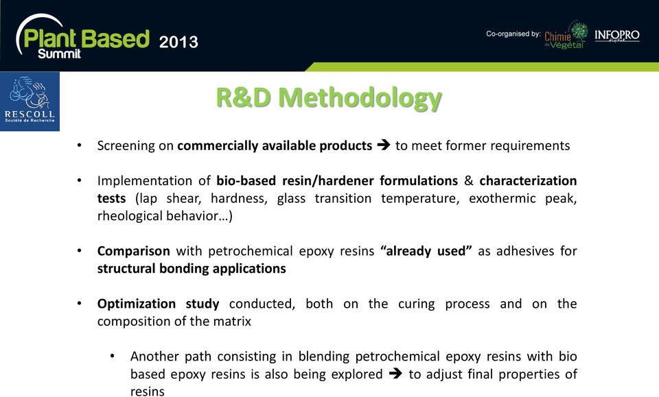 resins already used as adhesives for structural bonding applications Optimization study conducted, both on the curing process and on the composition of