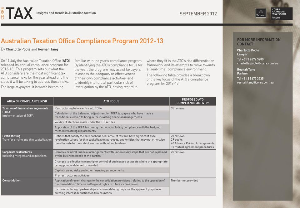 For large taxpayers, it is worth becoming familiar with the year s compliance program.