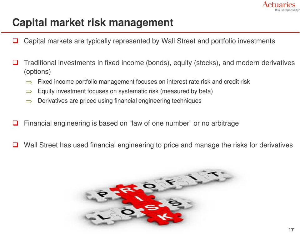credit risk Equity investment focuses on systematic risk (measured by beta) Derivatives are priced using financial engineering techniques