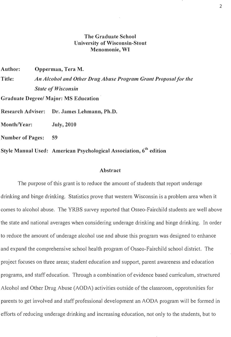 'l1g Abuse Program Grant Proposal for tile State of Wisconsin Graduate De