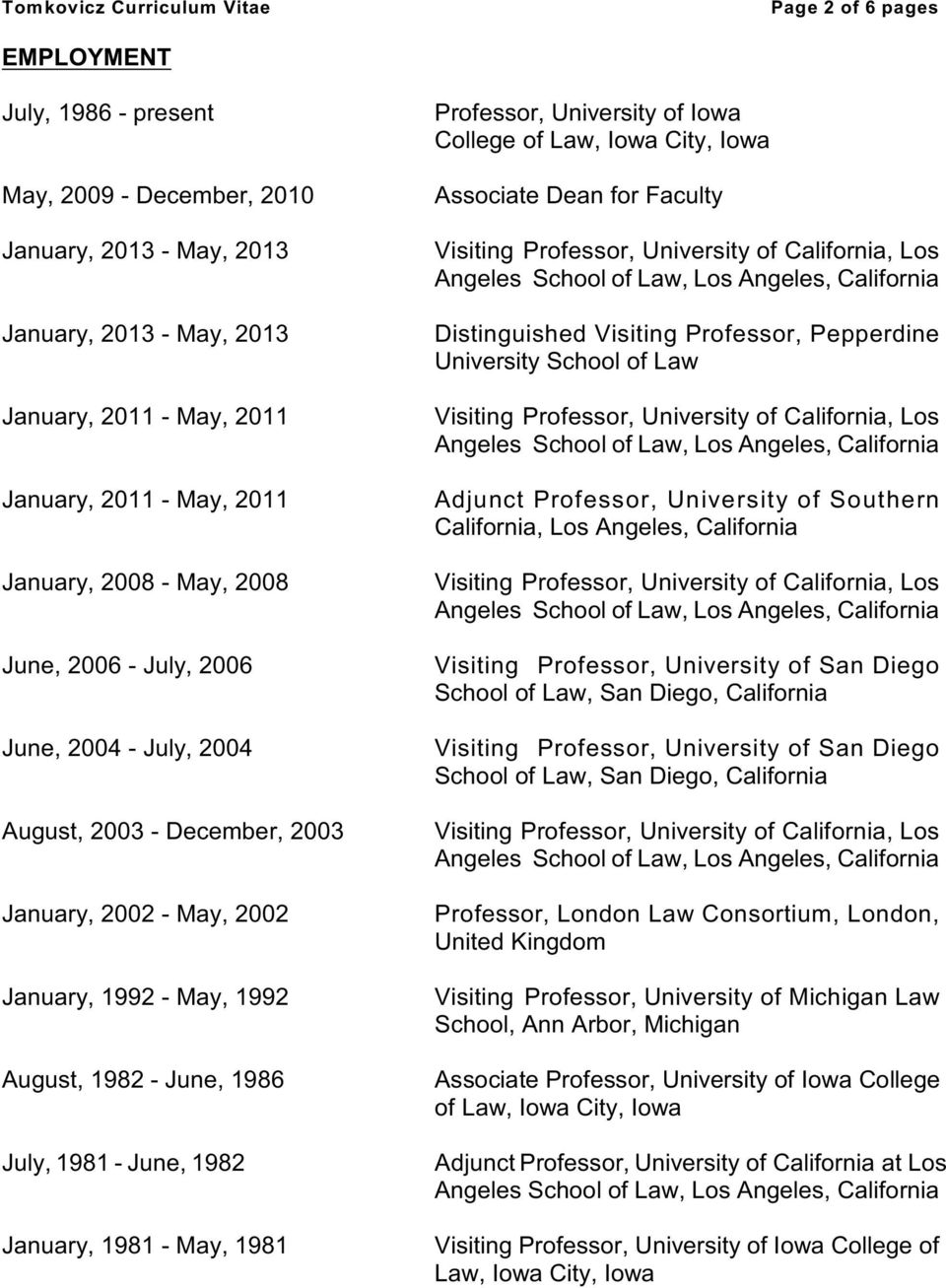 1981 - May, 1981 Professor, University of Iowa College of Law, Iowa City, Iowa Associate Dean for Faculty Distinguished Visiting Professor, Pepperdine University School of Law Adjunct Professor,