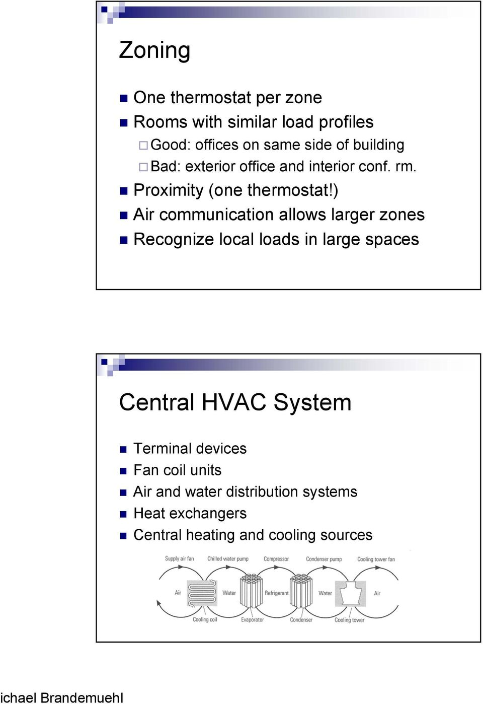 ) Air communication allows larger zones Recognize local loads in large spaces Central HVAC System