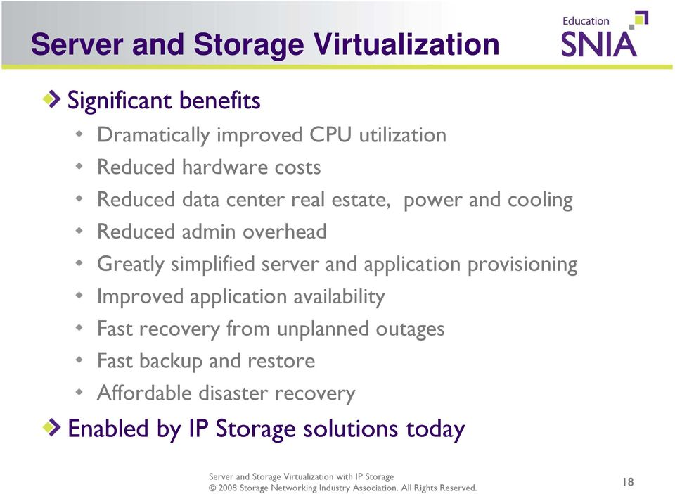 simplified server and application provisioning Improved application availability Fast recovery from