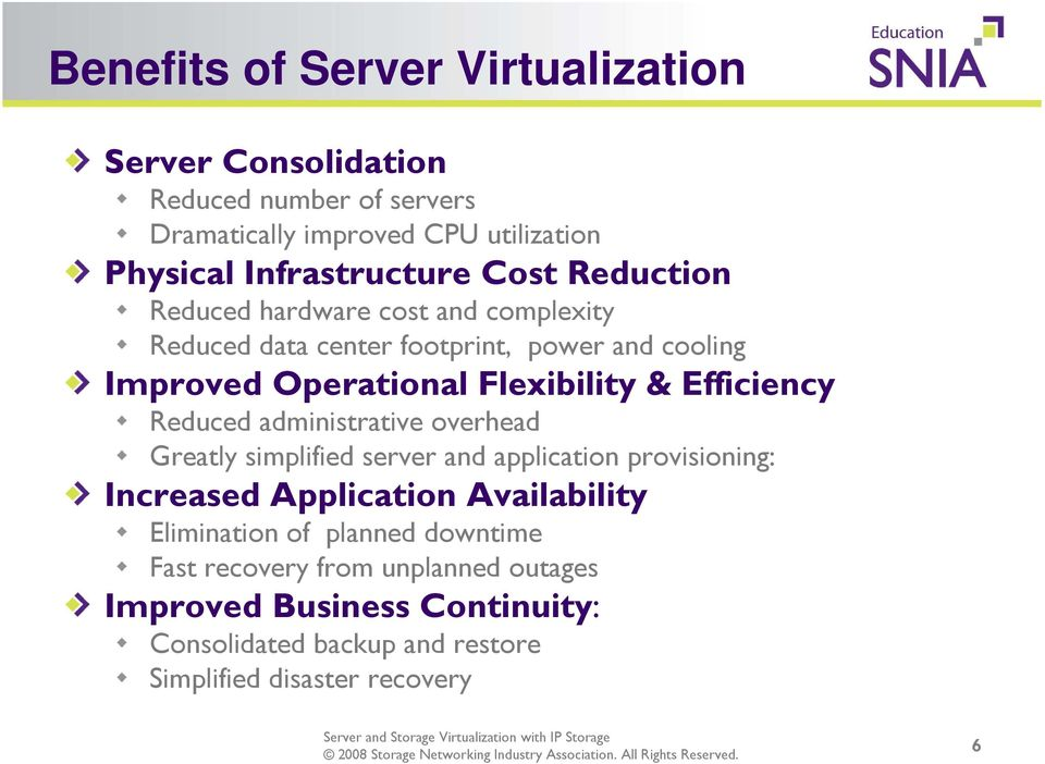 Efficiency Reduced administrative overhead Greatly simplified server and application provisioning: Increased Application Availability
