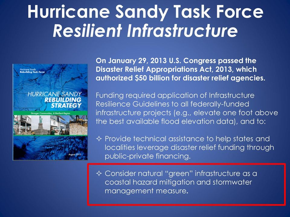 required application of Infrastructure Resilience Guidelines to all federally-funded infrastructure projects (e.g.