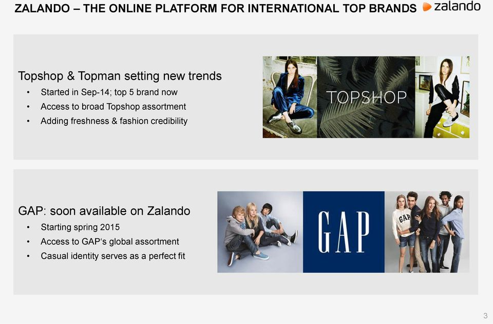 Adding freshness & fashion credibility GAP: soon available on Zalando Starting