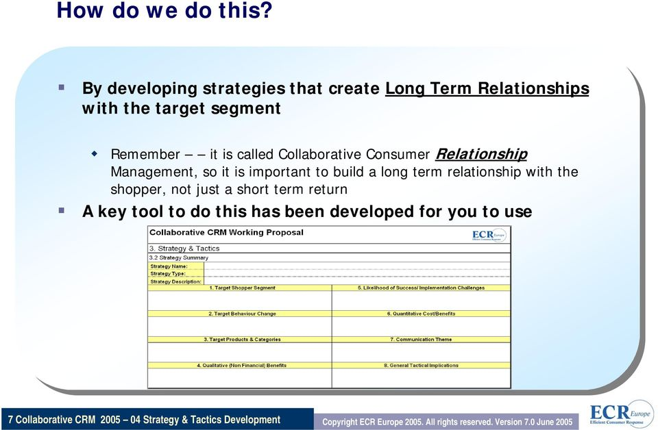 Collaborative Consumer Relationship Management, so it is important to build a long term relationship with the