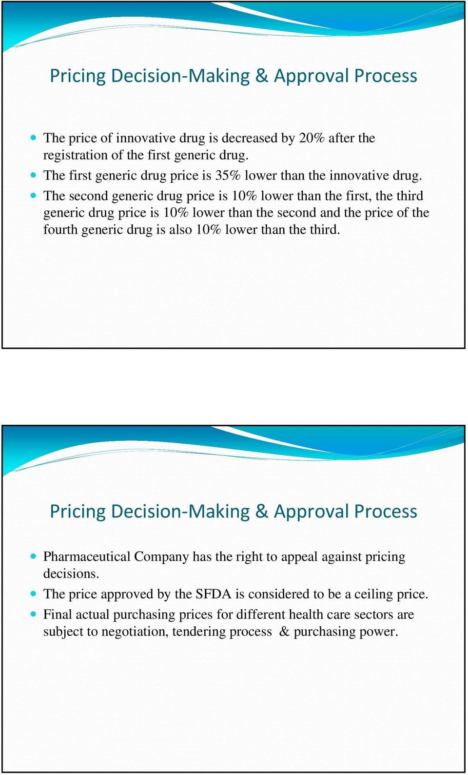 The second generic drug price is 10% lower than the first, the third generic drug price is 10% lower than the second and the price of the fourth generic drug is also 10% lower