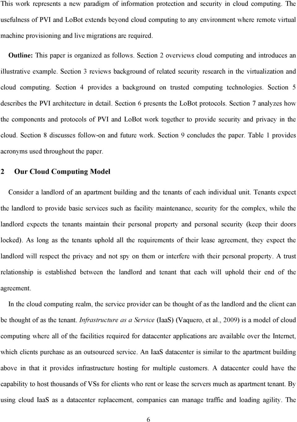 Outline: This paper is organized as follows. Section 2 overviews cloud computing and introduces an illustrative example.