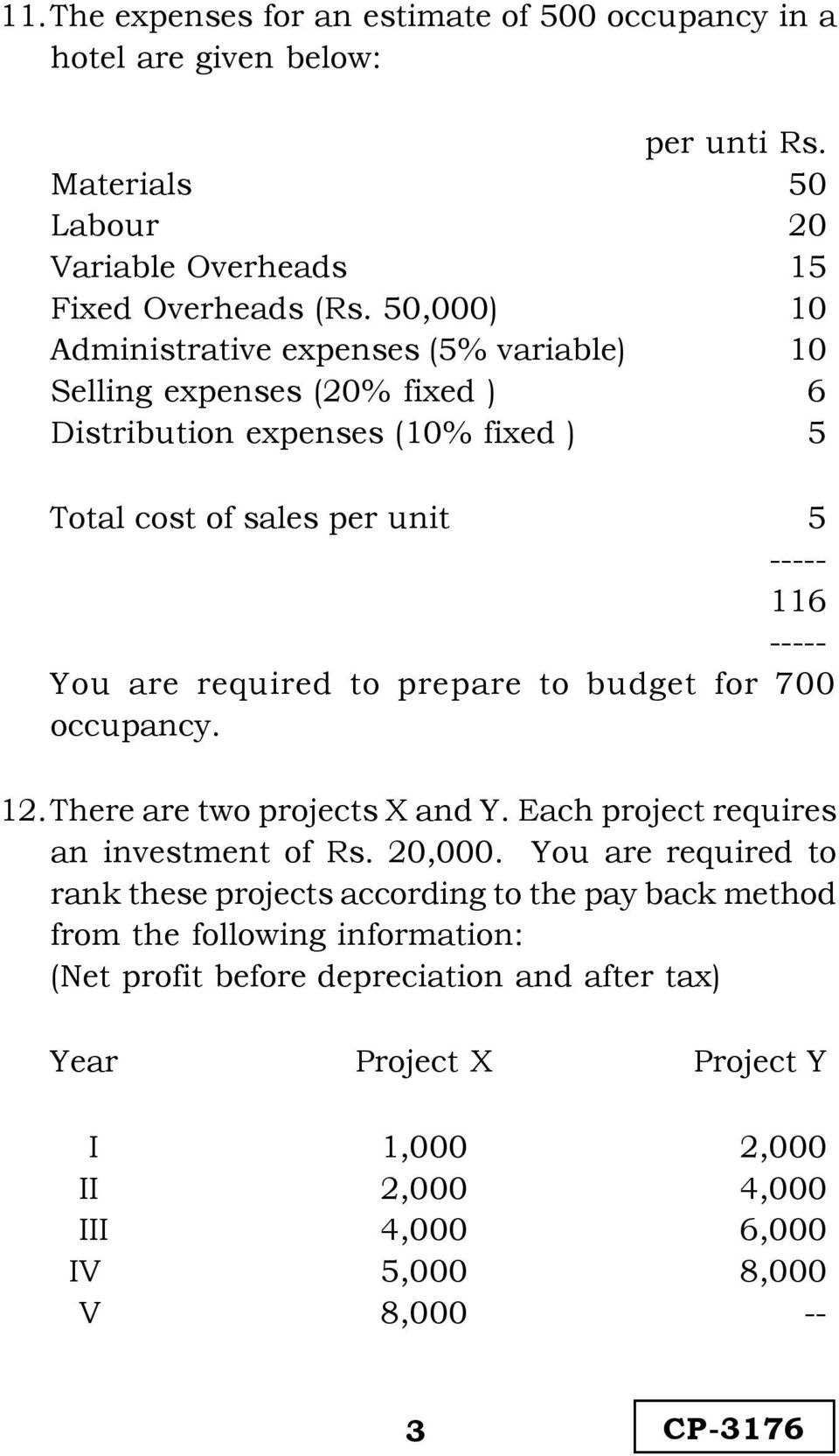 required to prepare to budget for 700 occupancy. 12.There are two projects X and Y. Each project requires an investment of Rs. 20,000.