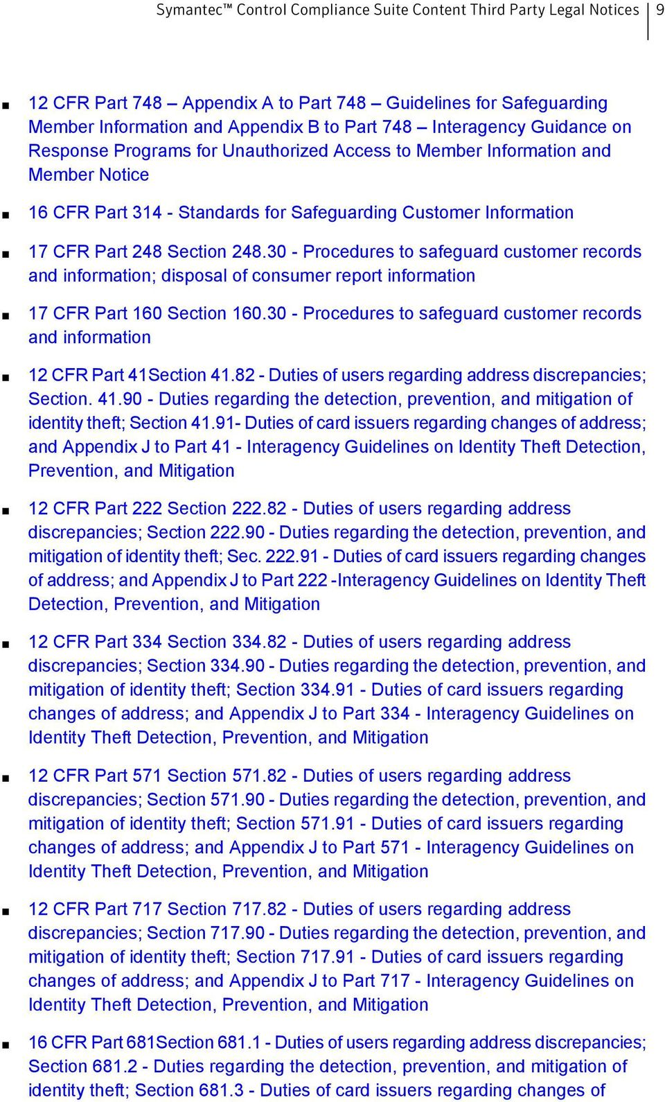 30 - Procedures to safeguard customer records and information; disposal of consumer report information 17 CFR Part 160 Section 160.