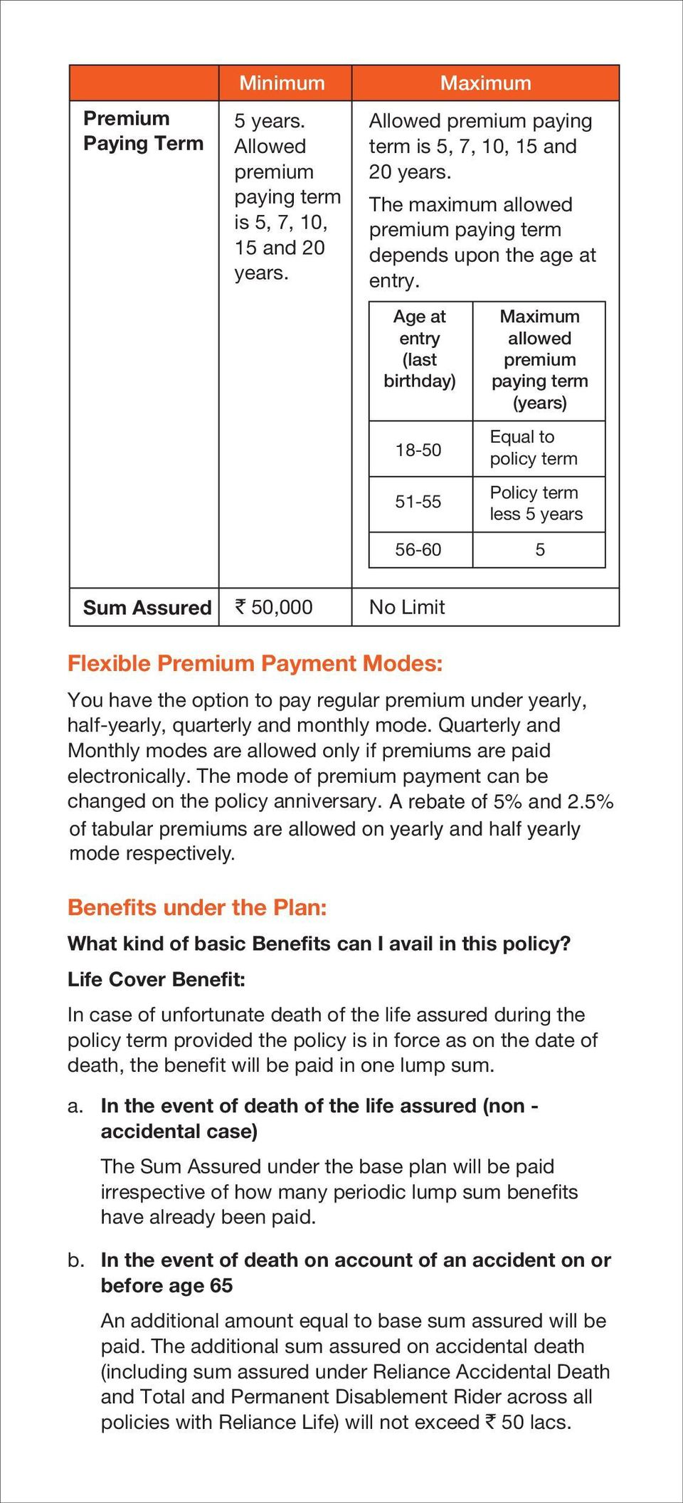 Modes: You have the option to pay regular premium under yearly, half-yearly, quarterly and monthly mode. Quarterly and Monthly modes are allowed only if premiums are paid electronically.