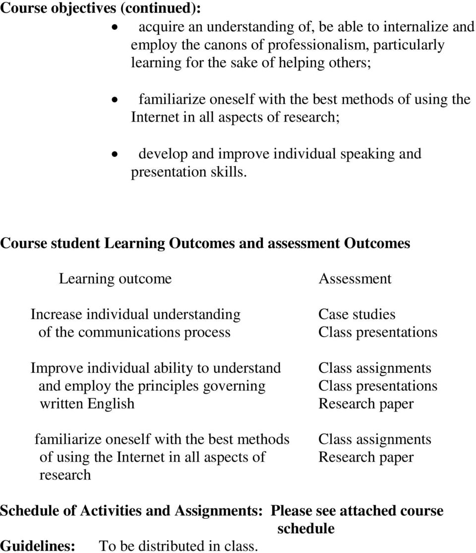 Course student Learning Outcomes and assessment Outcomes Learning outcome Increase individual understanding of the communications process Improve individual ability to understand and employ the