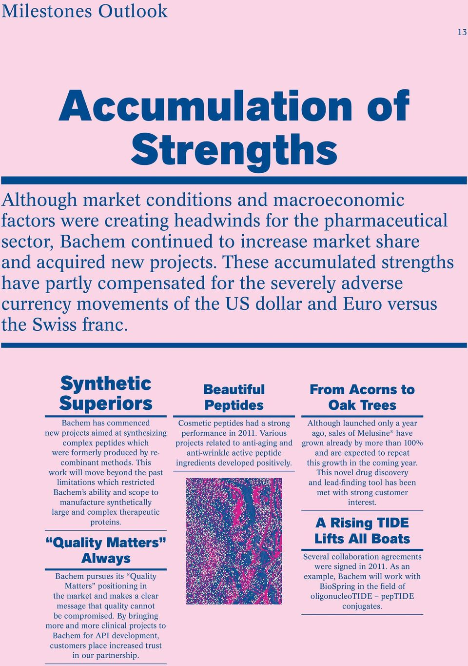 These accumulated strengths have partly compensated for the severely adverse currency movements of the US dollar and Euro versus the Swiss franc.