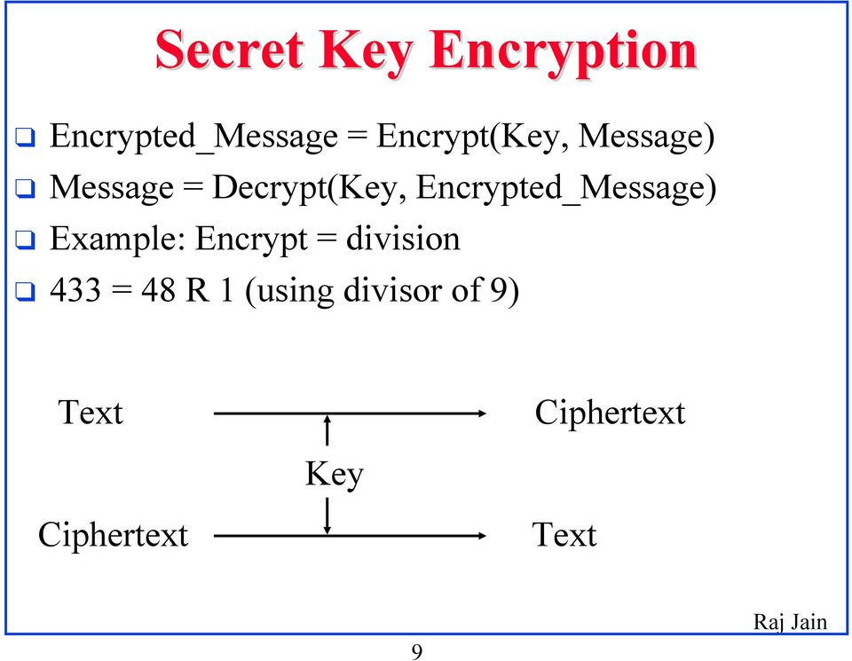 Encrypted_Message) Example: Encrypt = division 433
